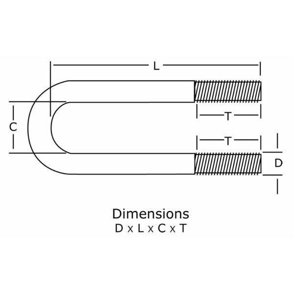 1 1/8 inch Diameter Round U-Bolt