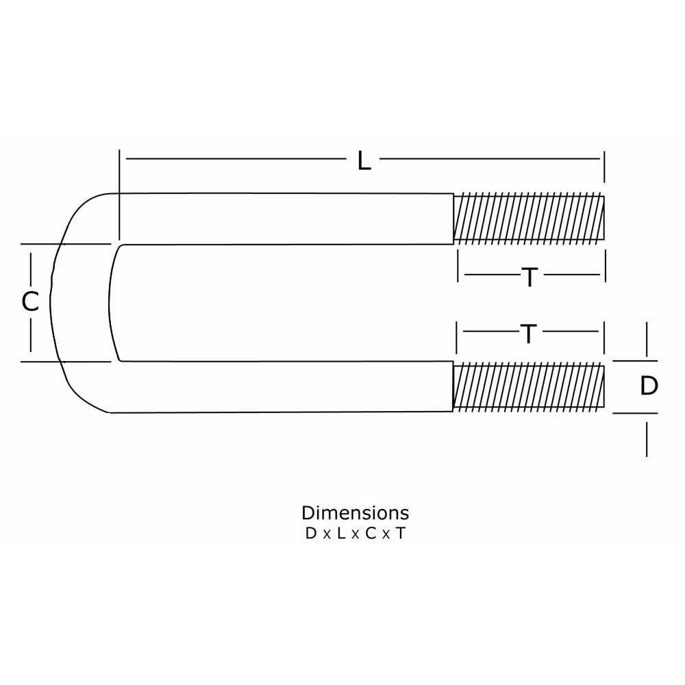 1 inch Diameter Semi-Round U-Bolt