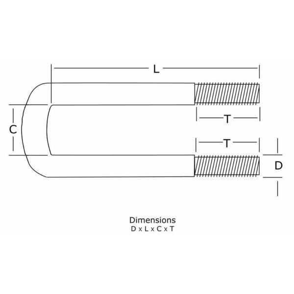 1/2 inch Diameter Semi-Round U-Bolt