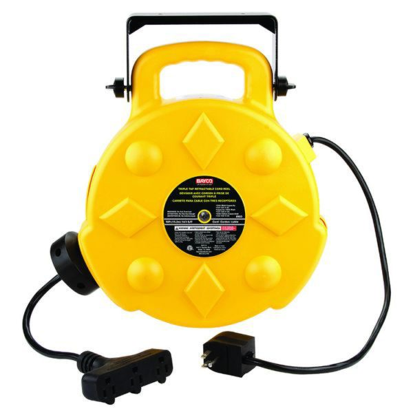 SL-8903 Bayco 50' 13A Retractable Cord Reel-3 Outlets